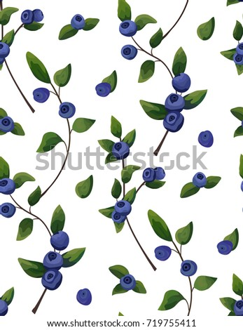 Vector natural Seamless pattern of blueberry branch, forest fruit with green leaves greenery, watercolor style background. Rustic chic style. Decorative, food botany plant, herb botanical illustration
