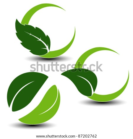 Vector natural symbols with leaf - stock vector