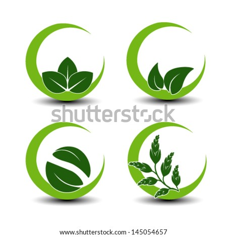Vector natural symbols with leaf - circular nature icon