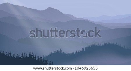 Vector nature background of mountains and forest. Landscape in blue tones.