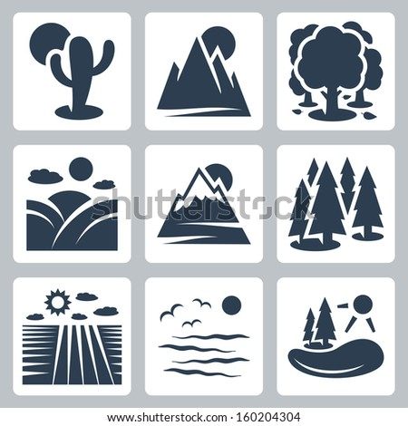 vector nature icons set  desert