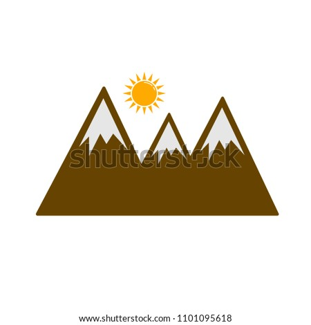vector nature landscape symbol, sun over mountains abstract illustration