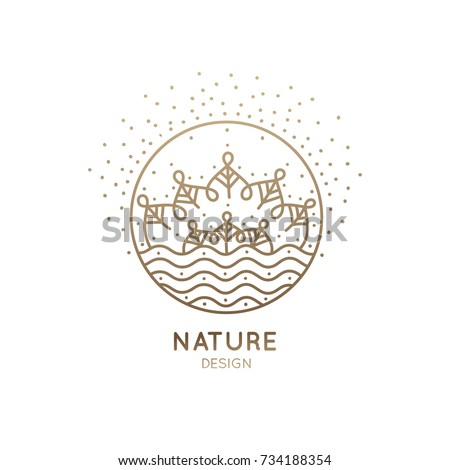 Vector nature logo. Flower mandala or landscape. Trees and river. Linear emblem for design of natural product, flower shop, cosmetics, ecology concepts, holistic medicine, health, spa, yoga Center.