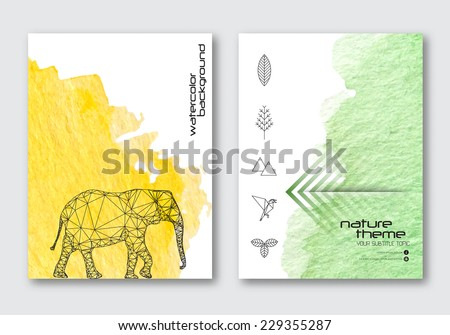 Vector nature poster templates. Hand drawn Watercolor stain background. Ink Abstract background for card, brochure, banner, web design.