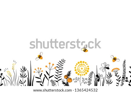 Vector nature seamless background with hand drawn wild herbs, flowers and leaves on white. Doodle style floral illustration. Stock photo ©