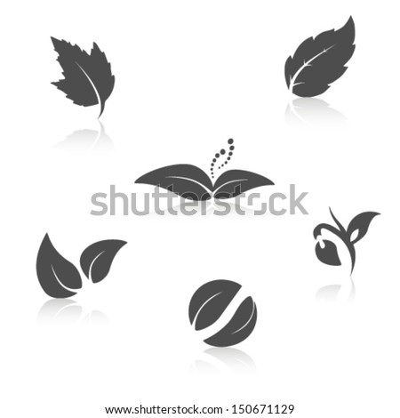 Vector nature symbols - leaf icon, silhouette with shadow