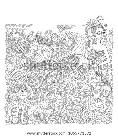 Stock Photo Vector nautical batik paint contour thin line. Mermaid, island, pearl, fish, sea shell, octopus. Black and white doodle. Hand drawn sketch artwork. Adults Coloring book vertical page, Batik