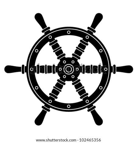 vector nautical boat steering wheel silhouette - stock vector