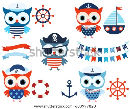Vector nautical set with cute sailor and pirate owls with ocean themed objects and buntings in red and blue colors for kids birthday party designs and summer baby shower invitations
