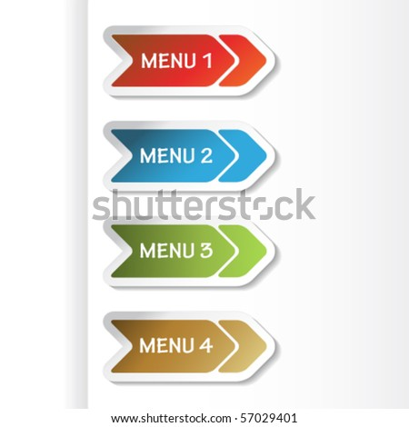 Vector navigation arrows on the paper - stock vector