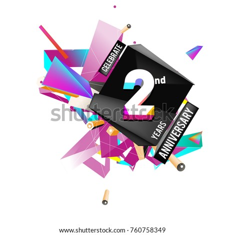 Vector 2nd Anniversary logo with colorful background #760758349