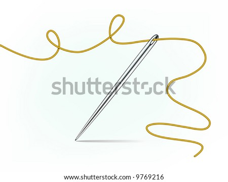 Vector Needle And Golden Thread - 9769216 : Shutterstock