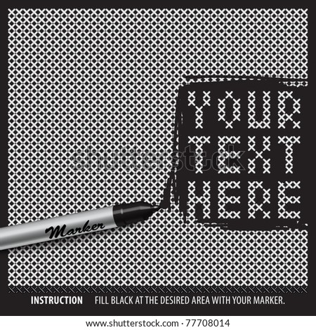 Vector Negative Cross Stitches Template with Your Desired Message or Patterns