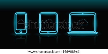 Vector neon blue technology icons on black background, eps8