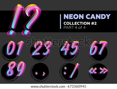 Vector Neon Character Typeset. Glowing Numbers on Dark Background. Glitch Effect. Shining Candy Type. Hand Drawn Retro Font for Summer Poster, Night Club Banner, Sale Banner.