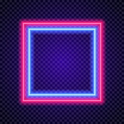 Vector neon frame square shape colorful style on transparent background for poster party, cafe, shop, banner, promotion, restaurant. Bright signboard. 10 eps