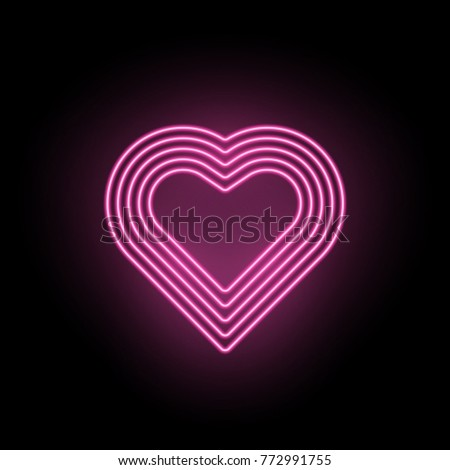 Vector Neon Heart. Neon Silhouette of Pink Heart formed by Five Contour of Lines, Isolated on the Black Background with Backlight