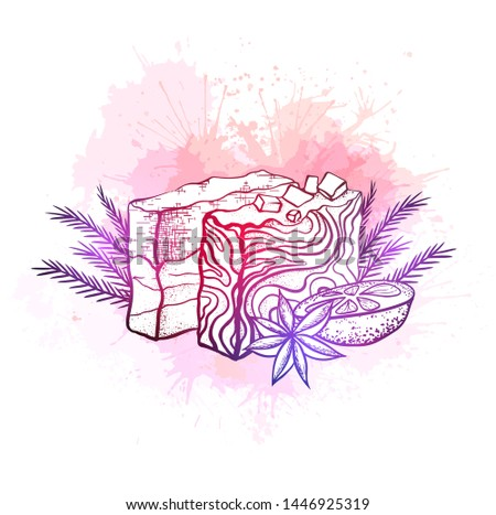 Vector neon illustration of handmade soaps with orange, juniper twigs and star anise on pink watercolor splash. Home hobby.  Soap making. Hand drawn drawing for cards, recipes and your creativity.