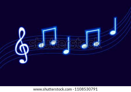 Vector Neon Melody, Blue Glowing Music Notes on Dark Background.