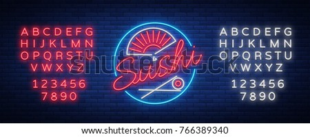 Vector neon sign logo Sushi bar, Asian fast-food street in a bar or shop, sushi, Onigiri with salmon roll with chopsticks, isolated. Luminous advertising, neon bobbler seafood. Editing text neon sign.