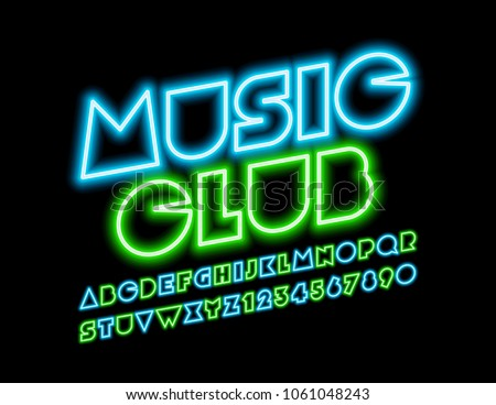 vector neon sign music club