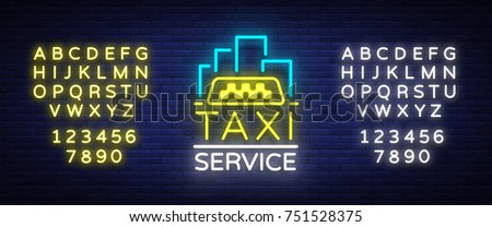 Vector Neon Taxi logo isolated on a brick background. Silhouette badge glowing taxi. Design advertising night sign of the taxi brand. Editing text neon sign. Neon alphabet