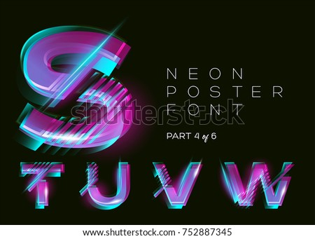 Vector Neon Typeset. Shining Trendy Letters. Fluorescent Glitch Effect. Vibrant Pink, Blue, Purple Colors. Bright Trendy Typography for Music Fest, Casino, Cinema Poster, Sale Banner. Isolated.
