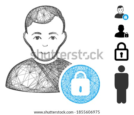 Vector net user lock. Geometric linear carcass 2D net generated with user lock icon, designed with intersected lines. Some bonus icons are added.