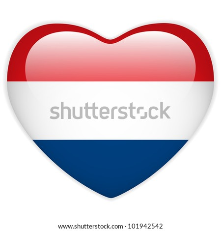 Vector - Netherlands Flag Heart Glossy Button