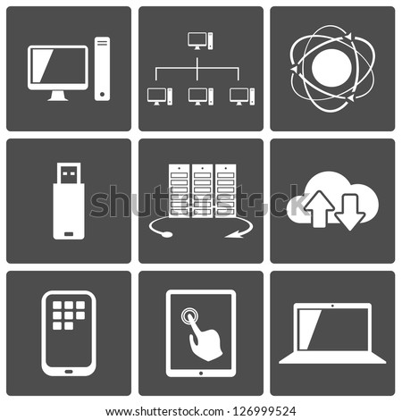 Vector Network and Mobile Connections Icon Set
