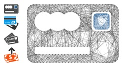 Vector network banking card. Geometric wire carcass flat network generated with banking card icon, designed with intersected lines. Some bonus icons are added.