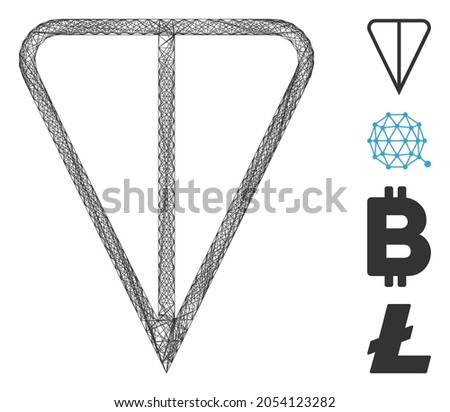 Vector network ton currency. Geometric wire carcass 2D network generated with ton currency icon, designed with crossing lines. Some bonus icons are added. Photo stock ©