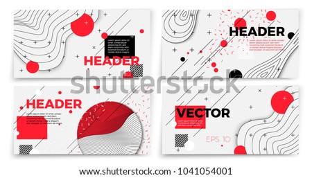 Vector new memphis style banner templates, white modern background with geometric shapes and place for your text. #1041054001