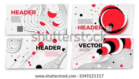 Vector new memphis style banner templates, white modern background with geometric shapes and place for your text. #1049221157