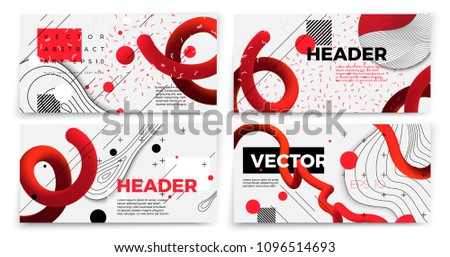 Vector new memphis style banner templates, white modern background with geometric shapes and place for your text. #1096514693