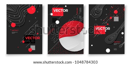 Vector new memphis style poster templates, dark modern background with geometric shapes and place for your text.