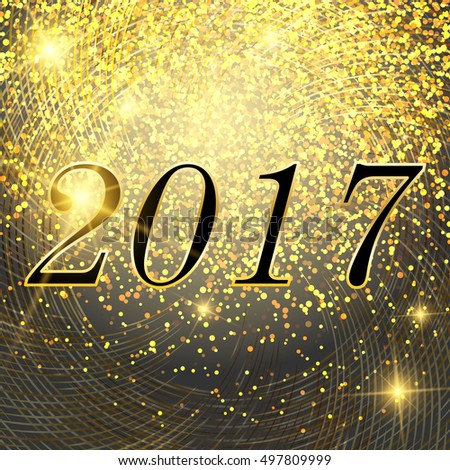Vector New Year and Christmas 2017 bright neon glowing lights background with snowflakes. Postcard, flyer, banner #497809999