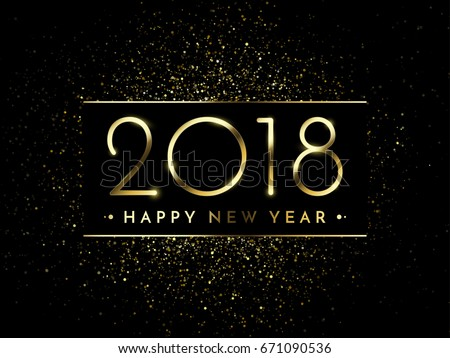 vector 2018 new year black background with gold glitter confetti splatter texture festive premium design