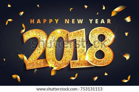vector 2018 new year black