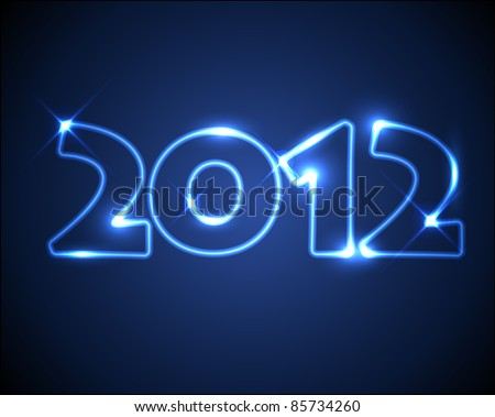 Vector New Year card 2012 made from blue neon lights - stock vector