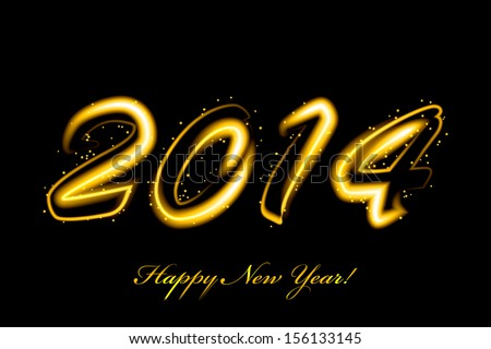 Vector 2014 new year glowing #156133145