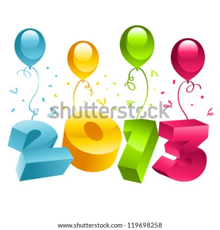 Vector new year 2013 greeting cards with colorful balloons.