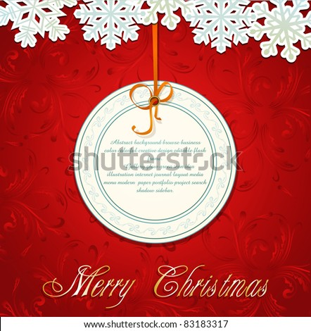 Vector New Year holiday red background with snowflakes and a greeting card