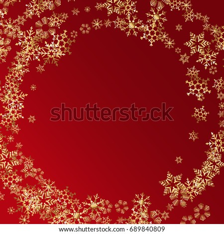 vector new year or christmas background with golden snowflakes border
