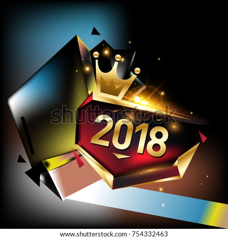 vector new year 2018 poster and calendar cover new year greeting card and background