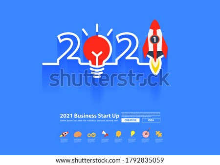 Vector 2021 new year rocket launch with creative light bulb ideas, Startup business concept design