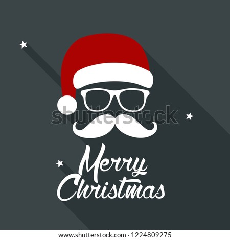 Vector New Year Santa Claus icon. Santa Claus with glasses and a mustache. Christmas illustration in flat style. Text: Merry Christmas.