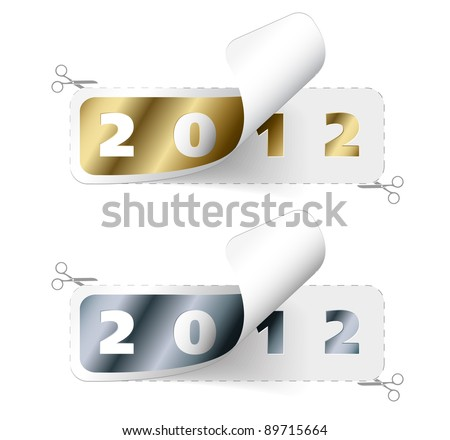 Vector 2011 / 2012 new year stickers - golden and silver