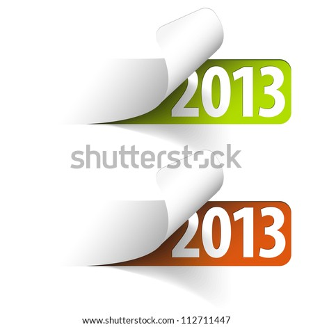 Vector 2013 new year stickers - green and red