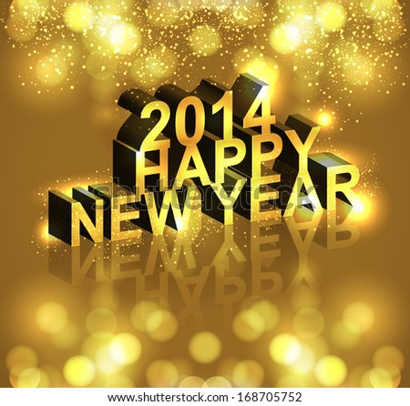 Vector 2014 new year text reflection card colorful background #168705752